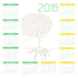 Tree line art drawing with Calendars 2016 Royalty Free Stock Photos