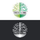 Tree line logo circle vector art design Royalty Free Stock Image