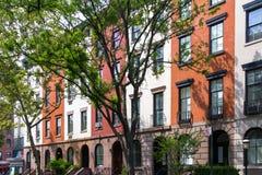 Tree Line Stree in Manhattan New York City Stock Photos