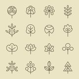 Tree linear icon set Stock Photography