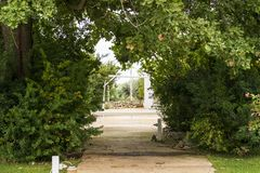 The tree lined avenue. Wedding day in Puglia, in the south of Italy. The tree-lined avenue of a garden and in the background an old wooden white wheel hanging royalty free stock photography
