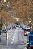 Tree-lined boulevard street in the center of Barcelona, Spain. Royalty Free Stock Photos
