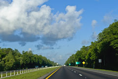 Tree lined highway Stock Photography