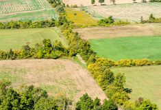 Tree lines bordering empty farm fields. Lines of trees and shrubs bordering empty farm fields in early autumn, viewed from above, in rural Ontario, Canada Royalty Free Stock Images