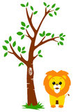 Tree and Lion. This is a cartoon illustration of a tree and a cute lion under it Stock Photo