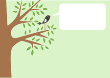 Tree and little bird. Poster with tree and cute bird, vector illustration with copy space for your text information Royalty Free Stock Photo