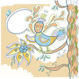 Tree and little bird with word bubble for your tex. T. Doodle illustration Stock Images