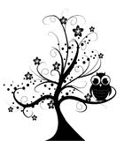 Tree with little owl. Illustration background Royalty Free Stock Photos