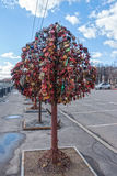 Tree with the locked wedding locks on the Bridge of Love. MOSCOW, RUSSIA - March 23, 2017: Tree with the locked wedding locks on the Bridge of Love Stock Photo