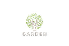 Tree Logo circle shape design vector template. Organic Natural Plant Garden Logotype concept icon. Royalty Free Stock Images