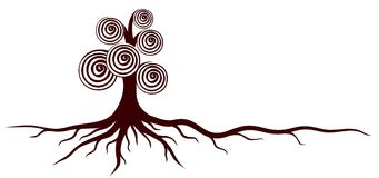 Tree with roots. A tree logo with curls and roots royalty free illustration