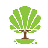 Tree Logo Icon with Green Leaves Flat Stock Photography