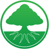 Tree logo. Tree with root system visible under ground Royalty Free Stock Photo