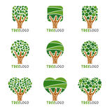 Tree logo - Squares, circles and hearts leaf style vector set design Stock Image