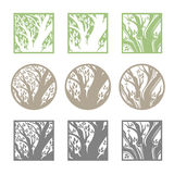 Tree logo template set. Stock Photo