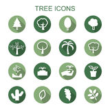 Tree long shadow icons Royalty Free Stock Image