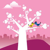 The tree of love. Abstract colorful illustration with two love birds kissing on a tree with hearts instead of leaves Stock Image