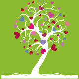 Tree of love. Vector; a tree with hearts on light green background Royalty Free Stock Photos