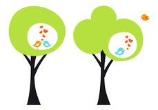 Tree with love birds, vector. Green tree with cute love birds, vector illustration stock illustration