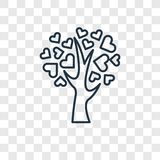 Tree of love concept vector linear icon isolated on transparent