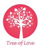 Tree of Love. Emblem on a pink background with a white silhouette of a tree and hearts Royalty Free Stock Photo