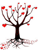 Tree of love with eyes. Beautiful tree of love. It is a lot of hearts Stock Images