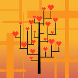 Tree of love. Geometrical tree with growing on branches hearts Stock Photos