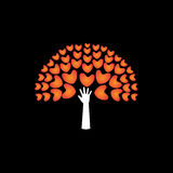Tree of love hearts and hand in support - concept vector icon Royalty Free Stock Photography