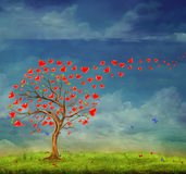 Tree of love. Tree of hearts, valentines day background, illustration
