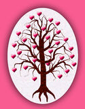 Tree of love with pink hearts on it Royalty Free Stock Images