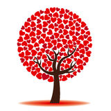 Tree of love with red hearts Royalty Free Stock Photography