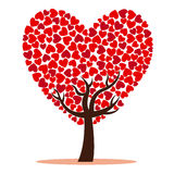 Tree of love with red hearts Royalty Free Stock Image