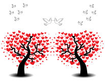 Tree of love with seagulls Royalty Free Stock Images