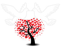 Tree of love with seagulls Stock Images