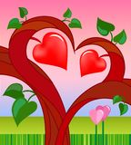 Tree of love with two hearts Stock Photo