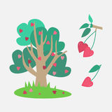 Tree of lovers. Cute tree of lovers in hearts royalty free illustration