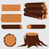 Tree lumber. Wooden. Trunk stump set, illustration of firewood material industry Stock Photos