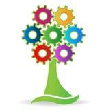 Tree made with gears logo Stock Photo