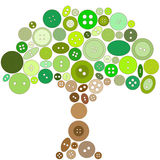 Tree made of green and brown buttons. Stock Photography