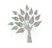 Human hand tree made of colorful particles. Tree made of human hands in color splash particles. Community help concept or social project. EPS10 vector stock illustration