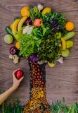 A tree made from organic fresh groceries Royalty Free Stock Photo