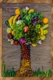 A tree made from organic fresh groceries Stock Photo