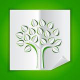 Tree made of paper cut out. Tree on green made of paper cut out royalty free illustration
