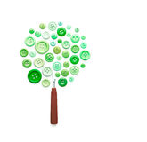 Tree Made of Sewing Buttons and Ripper. Isolated on white background Stock Image