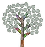 Tree made of variety recycled cans Royalty Free Stock Image