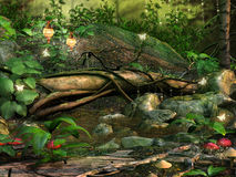 Tree in a magic forest. With red mushrooms stock illustration