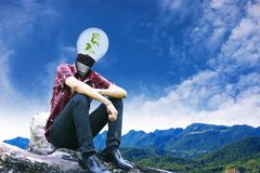 Tree man and empty signposts on landscapes background 2 Royalty Free Stock Image