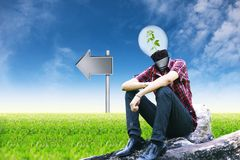 Tree man and empty signposts on landscapes background Stock Image