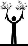 Tree man. A man is holding tree branches in his hands. It is a stick figure vector. EPS10 Stock Photo