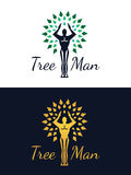 Tree man logo (green and gold color Stock Photo